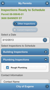 Scheduling inspections screen